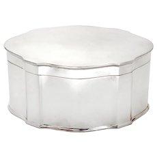 Thomas Bradbury Silver Plated Plain Oval Box with a Hinged Lid