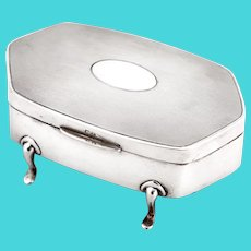 Sterling Silver Jewellery Box with an Engine Turned Pattern on the Hinged Lid