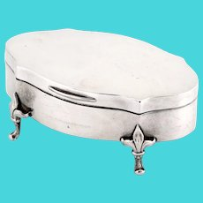 Antique Silver Jewellery Box with a Gilt Hinged Lid