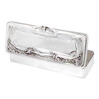Large Antique Art Nouveau Style Rectangular Silver Plated Box