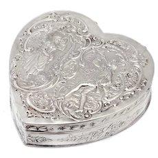 Continental Heart Shape 800 Grade Silver Jewellery or Trinket Box