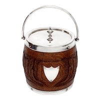 Edwardian Silver Plate and Oak Biscuit Barrel or Ice Pail with China Liner
