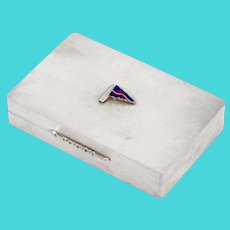 Sterling Silver Trinket Box with an Enamel Pennant for the Royal Naval Volunteer Reserve Yacht Club