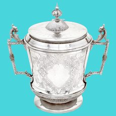 Unusual Shaped Silver Plated Barrel with Cast Gargoyle Style Handles
