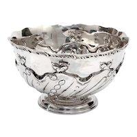 Edwardian Thomas Bradbury & Son Sterling Silver Rose Bowl