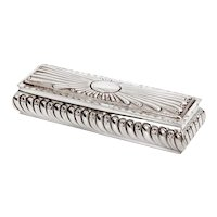 Victorian Sterling Silver Trinket Box with Gadroon Style Chased Body and Internal Gilding