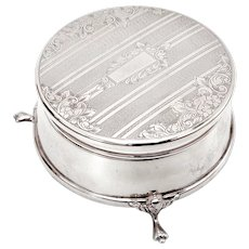 Silver Trinket or Jewellery Box with a Floral and Engine Turned Engraved Hinged Lid