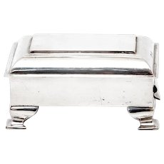 Edwardian Plain Body Sterling Silver Jewellery Box with Hinged Stepped Lid and Gilt Interior