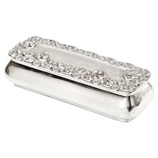 Small Victorian Sterling Silver Jewellery Box with Repousse Scroll and Flower Decoration
