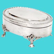 Oval Edwardian Sterling Silver Jewellery Box with a Hinged Plain Lid and Wreath Style Border