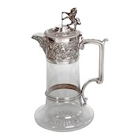 Victorian Elkington & Co Silver Plated and Cut Glass Claret Jug with Bacchus Mask Spout
