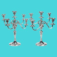 Pair of Five Light Silver Plated Georgian Style Candelabra