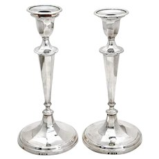 Exceptional Pair of Tessier Sterling Silver Candle Sticks