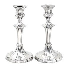 Pair of Vintage Sterling Silver Candlesticks with Plain Fluted Columns