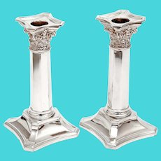 Pair of Martin Hall & Co Antique Silver Plated Candle Sticks