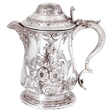 Antique Silver Plated Lidded Flagon or Jug