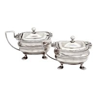 Pair of Edwardian Silver Mustard Pots in a Georgian Style with Blue Glass Liners