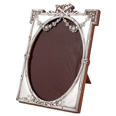 Neo-Classical Edwardian Sterling Silver Picture Frame with Repousse Garland and Stylised Floral Decoration
