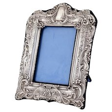 Antique Sterling Silver Photo Frame Decorated in High Relief