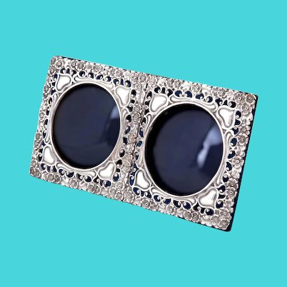 Antique Double Window Sterling Silver Photo Frame