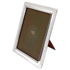 Large Stylish Antique Plain Sterling Silver Frame with Oak Easel Back