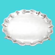Elkington & Co Sterling Silver Salver with a Chippendale Style Border
