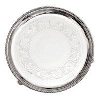 "Antique Elkington & Co Silver Plated 12"" Salver with a Rope Style Border"