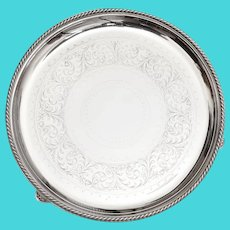 """Antique Elkington & Co Silver Plated 12"""" Salver with a Rope Style Border"""