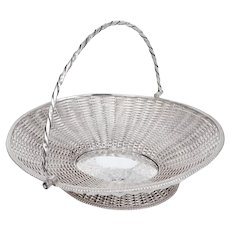 Antique Silver Plated Oval Basket Formed From Woven Wire Work