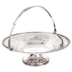 Antique Silver Plated Basket Engraved with Classical Figures