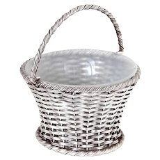 Antique Silver Plated Sugar Basket with a Woven Wire Work Body