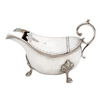 Antique Silver Plated Sauce Boat with an Unusual Hinged Engraved Lid