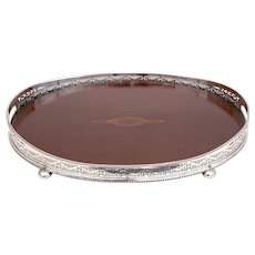 Oval Silver Plate and Mahogany Gallery Tray