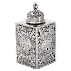 Edwardian Sterling Silver Tea Caddy Chased with Flowers and Scrolls