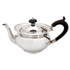 Plain Sterling Silver Edwardian Bachelor Tea Pot
