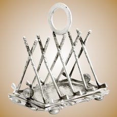 Late Victorian Silver Plated Golf Themed Toast Rack
