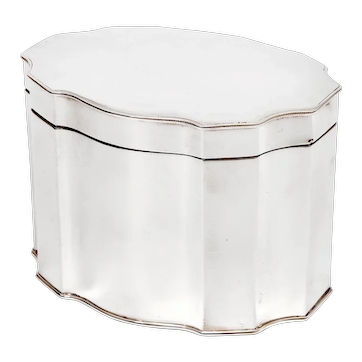 Silver Plated Box in an Oval Shaped Form with a Hinged Lid