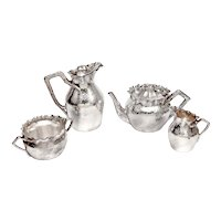Victorian 4 pc Silver Plated Tea Set with a Hammered Style Body