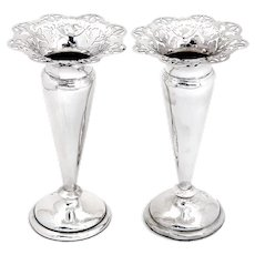 Pair Victorian Sterling Silver Trumpet Shaped Vases