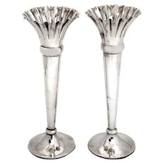 Pair of Antique Trumpet Shaped Sterling Silver Vases