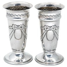 Pair of Late Victorian Sterling Silver Vases Chased with Bows and Garlands