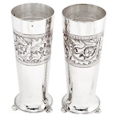 Pair of Antique Walker and Hall Silver Plated Flower Vases