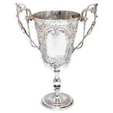Antique Two Handle Silver Plated Trophy Cup Chased with Scrolls and Flowers