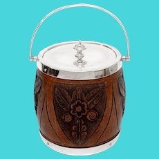 Edwardian Silver Plate and Oak Biscuit Barrel or Ice Pail with Four Carved Shields