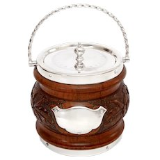 Antique Oak and Silver Plated Biscuit Barrel