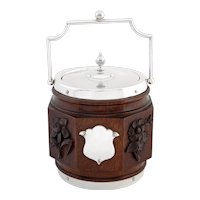 Antique Eight Sided Late Victorian Oak and Silver Plated Barrel