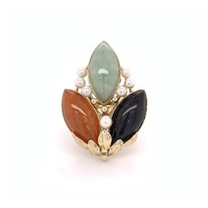 Ming's Jade and Cultured Pearl Ring 14k