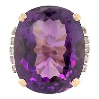 24 Carat Amethyst and Diamond Cocktail Ring 14k