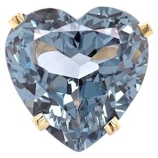 Large Synthetic Blue Spinel Heart Ring 14k