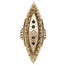 Sapphire and Diamond Shield Ring 14k